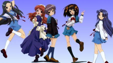 anime, girl, crowd