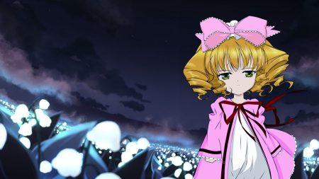 anime, girl, field