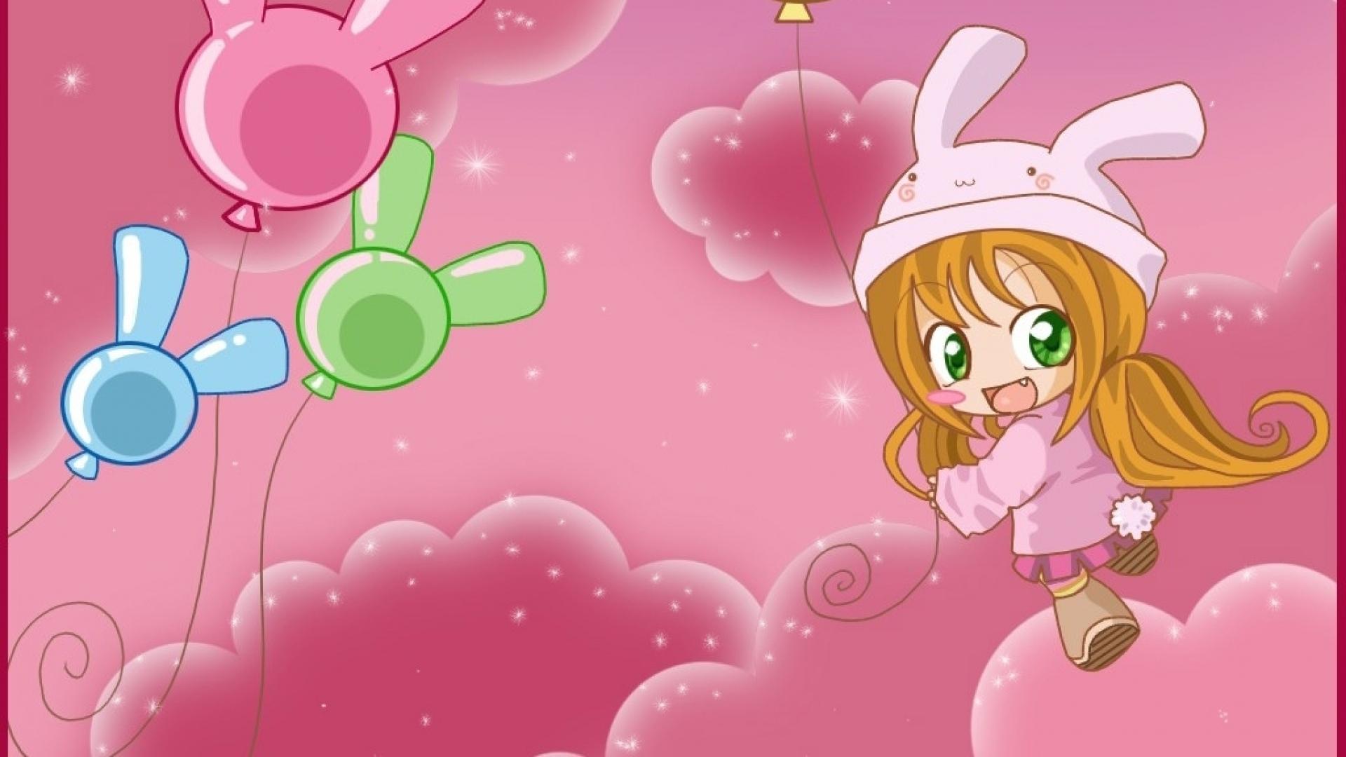 anime girl, flight, balloons