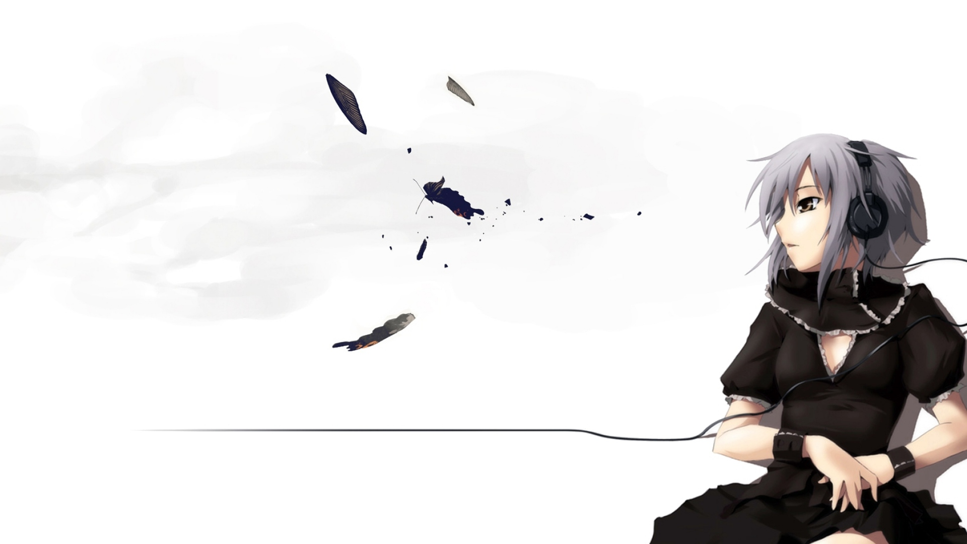 anime, girl, headphones