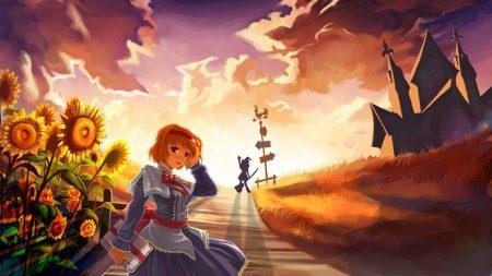 anime, girl, road