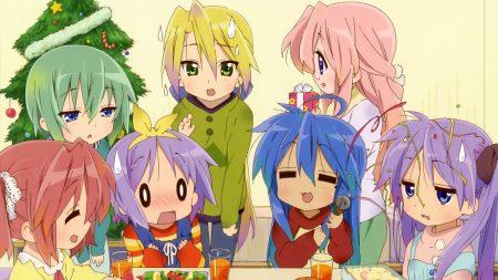 anime, lucky star christmas, girls