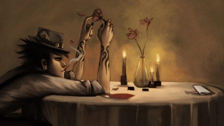 art, guy, table