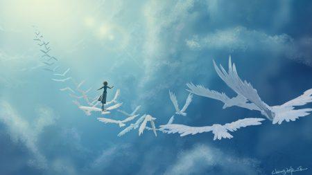 art in the sky, birds, girl
