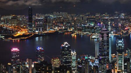 asia, skyscrapers, river