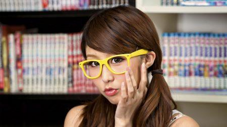 asian, girl, glasses