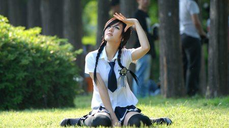 asian, schoolgirl, grass