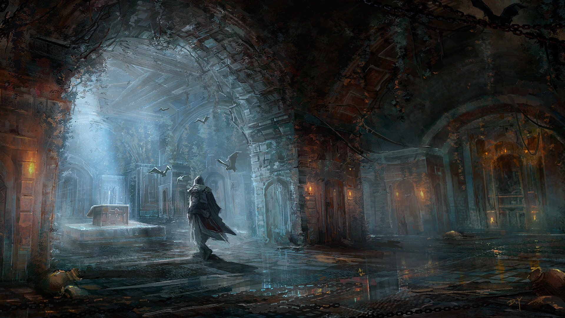 Download Wallpaper 1920x1080 Assassins Creed Chest House Bats