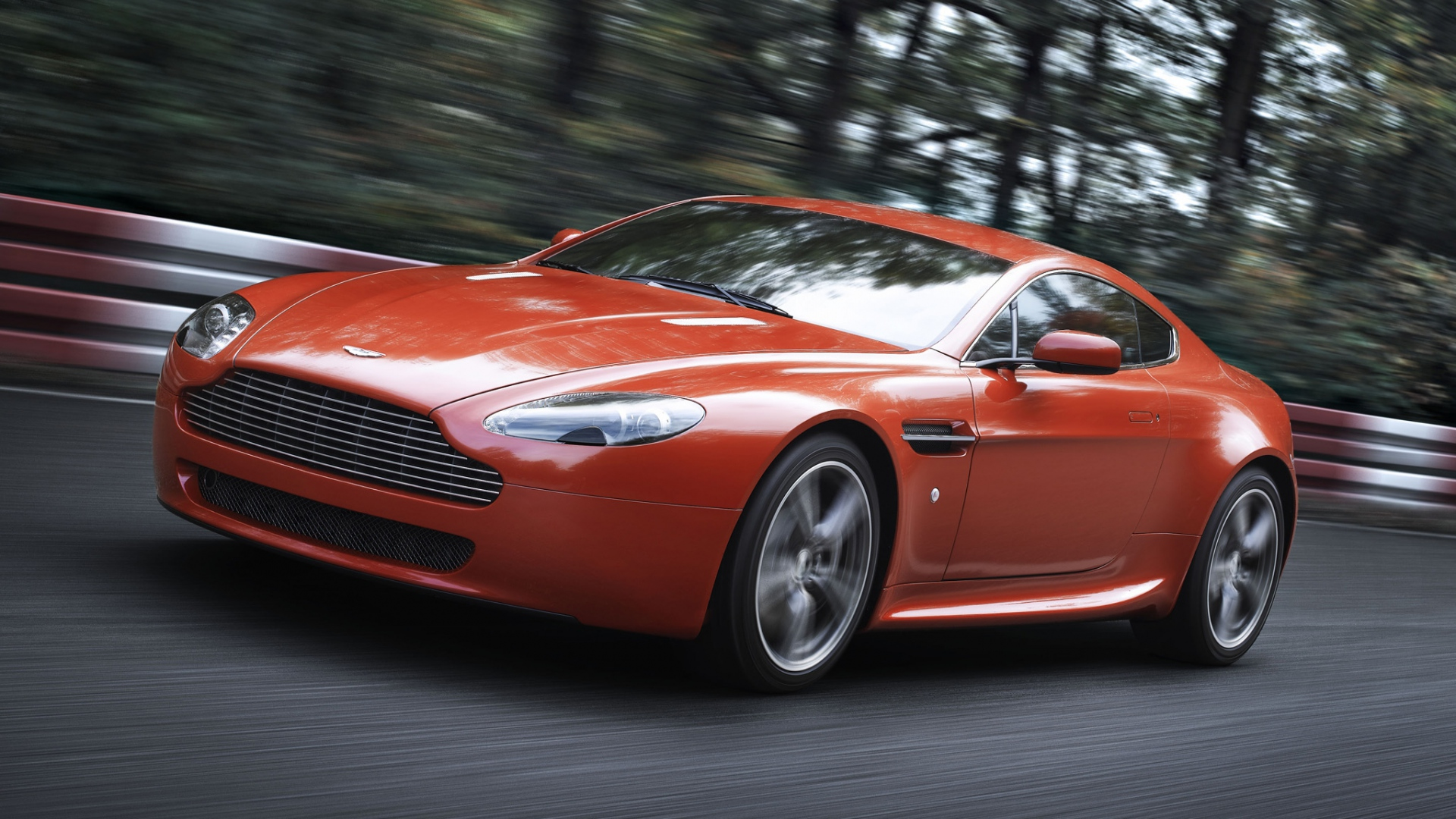 Download Wallpaper 1920x1080 Aston Martin V8 Vantage 2008 Red Front View Speed Trees Full Hd 1080p Hd Background