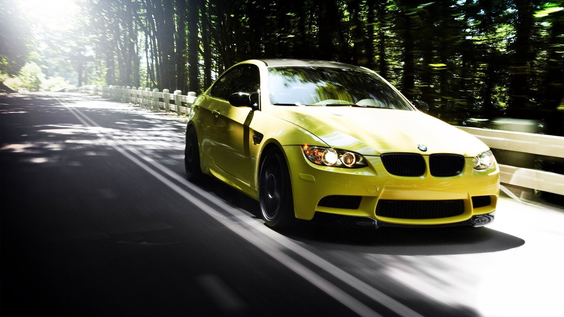 Download Wallpaper 1920x1080 Auto Bmw M3 Yellow Road Forest Summer Full Hd 1080p Hd Background