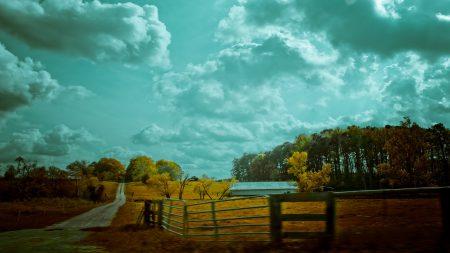 autumn, sky, fence
