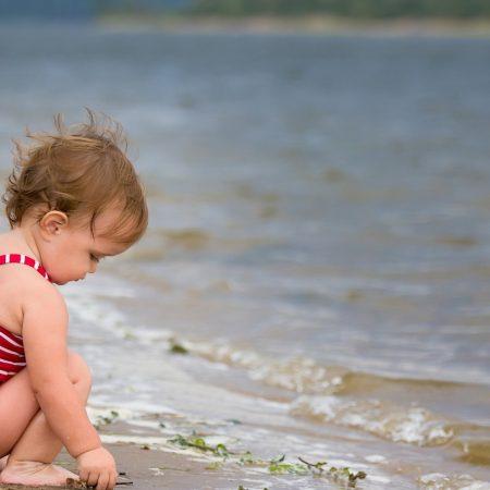 baby, beach, sea