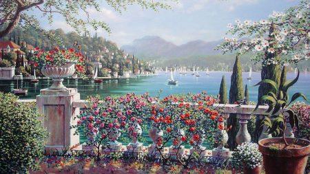 balcony, flowers, lake