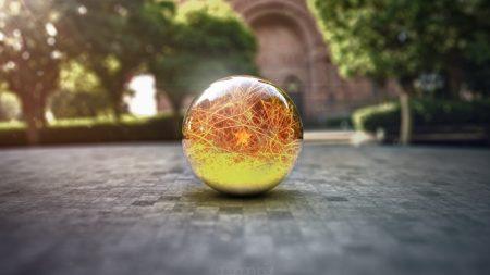ball, glass, surface