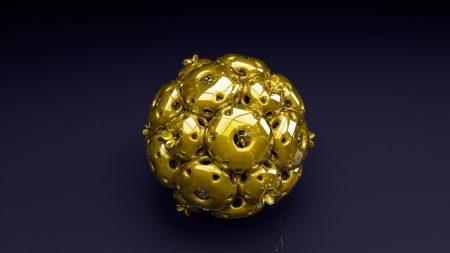 ball, shape, gold