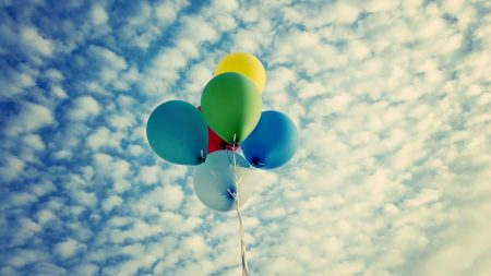 balloons, colorful, clouds