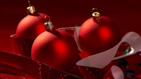 balls, christmas decorations, three