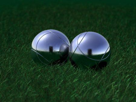 balls, grass, reflection