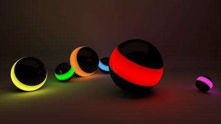 balls, lines, neon lights