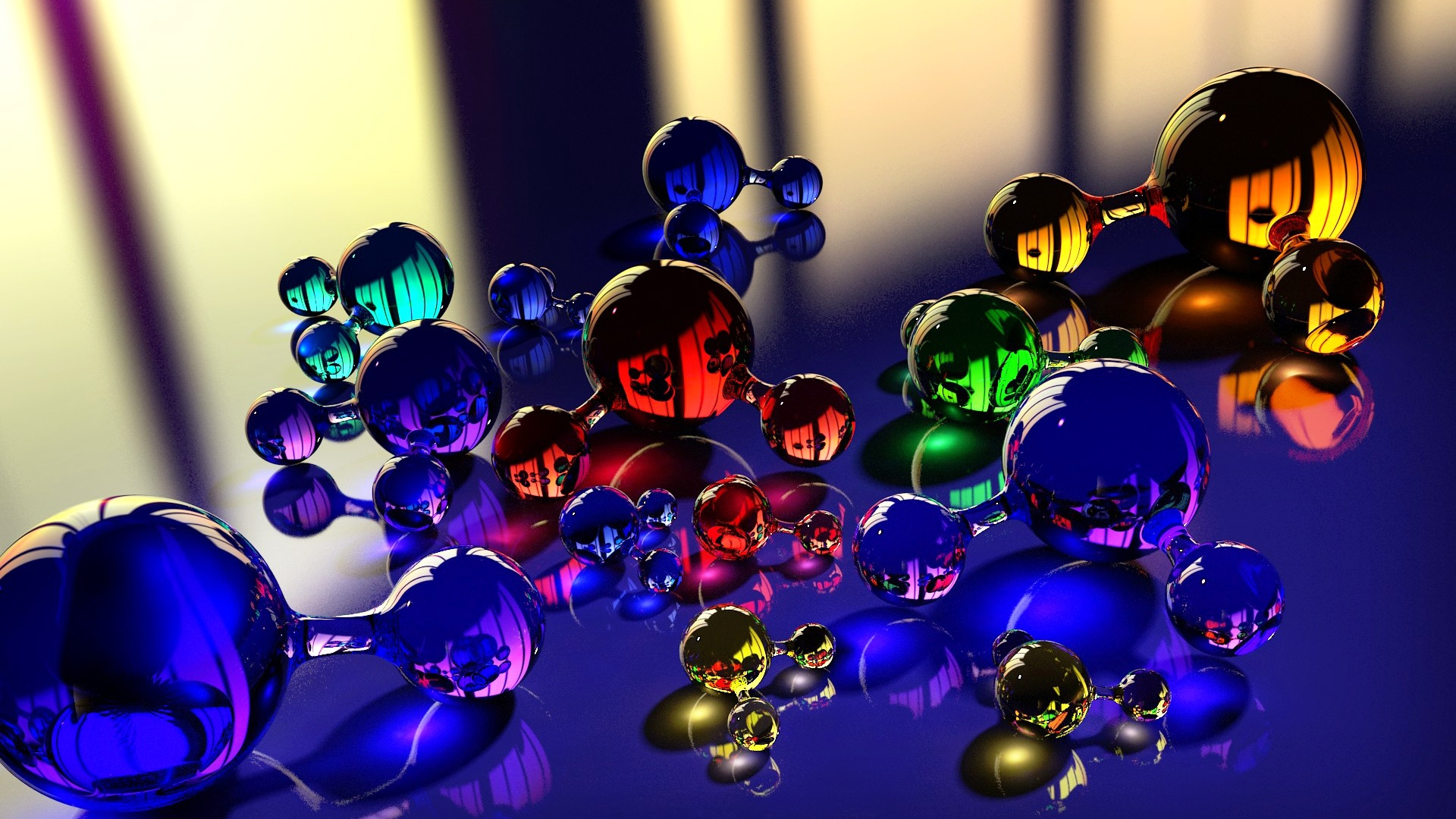 download wallpaper 1920x1080 balls, molecule, massager, glass
