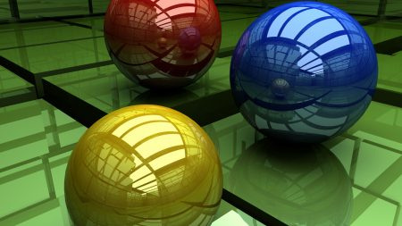 balls, three-colored, surface