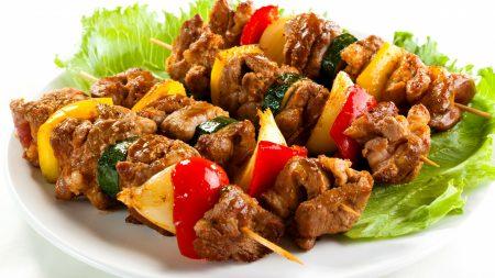 barbecue, meat skewers, vegetables