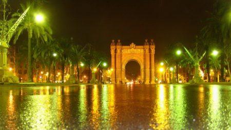 barcelona, light, arch