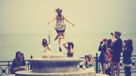 beach, girl, jump
