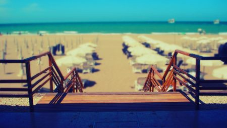 beach, stairs, chairs