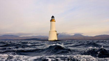 beacon, white, sea