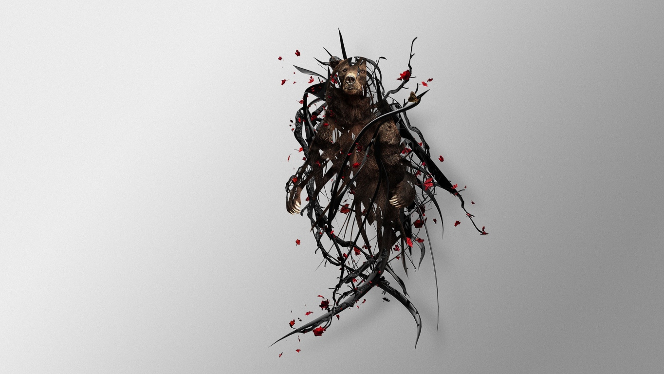 download wallpaper bear  twigs  surrealism  image hd