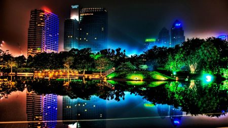 beautiful night, buildings, colorful lights