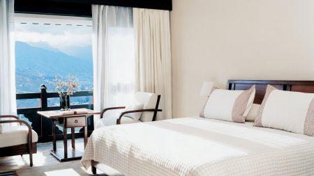 bed, balcony, table