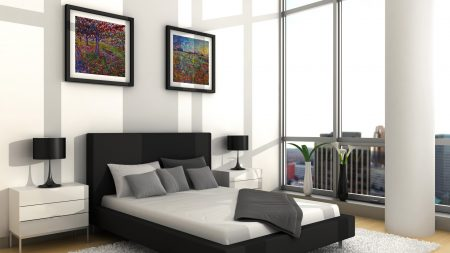 bed, paintings, furniture