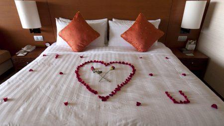 bed, room, romance