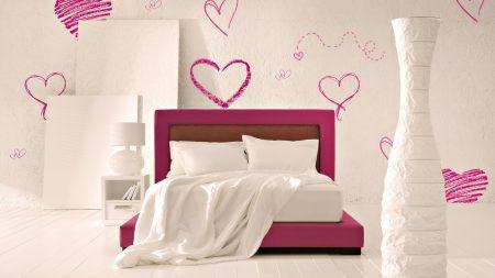 bed, room, romantic
