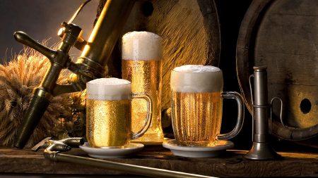 beer, glasses, three