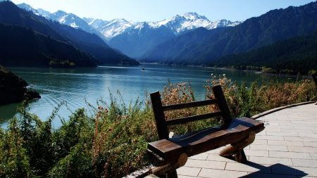 bench, lake, mountains