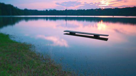 bench, water, lake