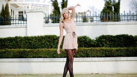 berit birkeland, blonde, dress