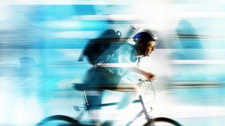 bicyclist, speed, strips