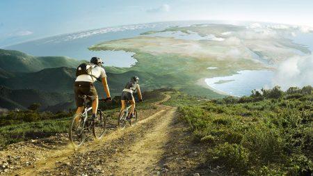 bicyclists, arrival, descent