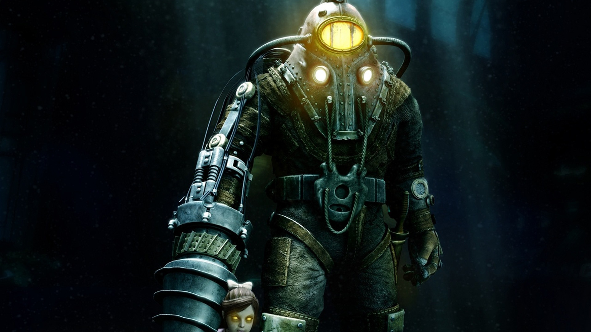Download Wallpaper 1920x1080 Bioshock Little Sister Big Daddy