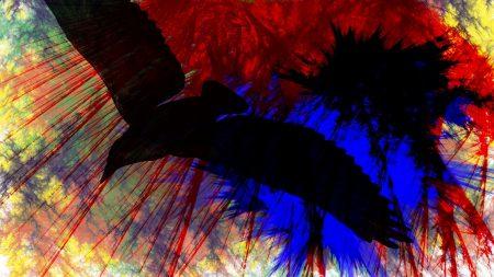 birds, flying, paint