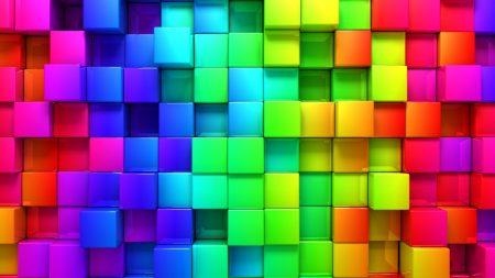 blocks, rainbow, 3d graphics