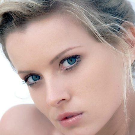 blonde, face, blue eyes