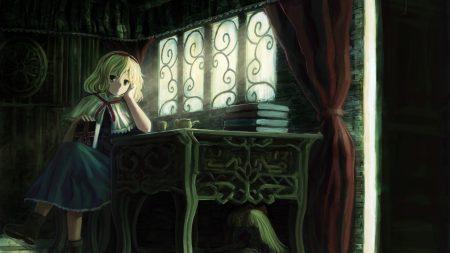 blonde, girl, table