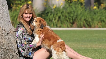blonde hair, grass, dog