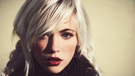 blonde, makeup, face