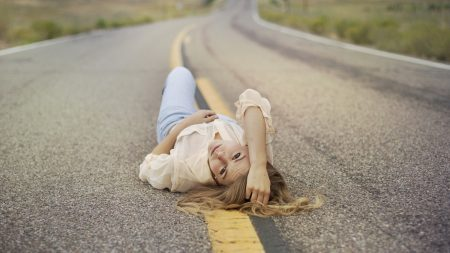 blonde, road, lie down